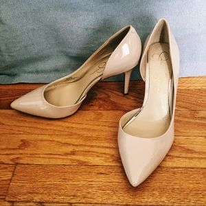 Jessica Simpson Shoes - Patent Leather Nude Heels Pointed Size 8